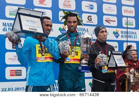 The Three Winners Of The Men's Competition Of The 21Th Rome Marathon.