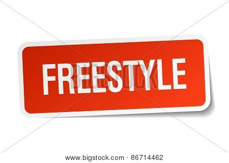 Freestyle Red Square Sticker Isolated On White