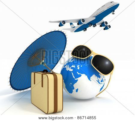 3d suitcase, airplane, globe and umbrella. Travel and vacation concept. Trendy signs - summer and journey.