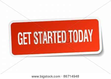 Get Started Today Red Square Sticker Isolated On White