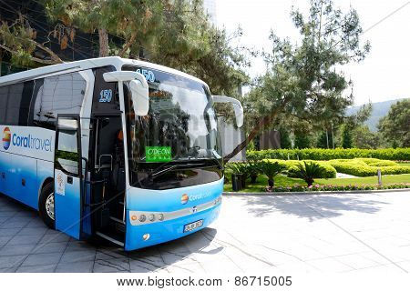 Antalya, Turkey - April 25: The Modern Bus For Tourists Transportation Is Near Entrance To Hotel On