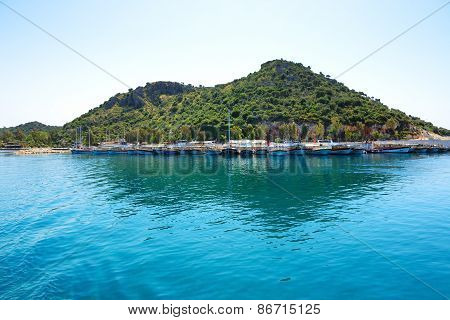 Antalya, Turkey - April 24: The Yachts In Harbor On Turkish Resort On April 24, 2014 In Antalya, Tur