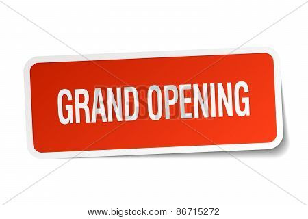 Grand Opening Red Square Sticker Isolated On White