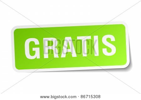 Gratis Green Square Sticker On White Background