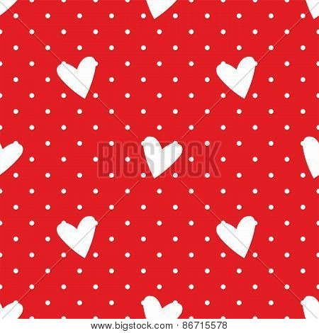 Tile vector pattern with white hearts and polka dots on red background