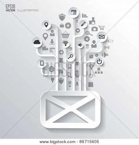 Message, sms, email icon. Icon tree. Flat abstract background with web icons. Interface symbols. Clo