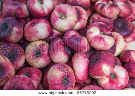 Fresh Saturn Peaches Fruit Background