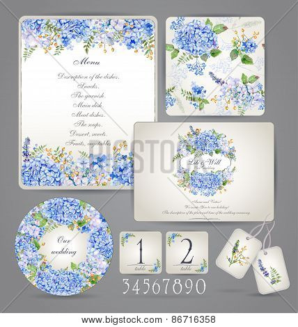 Set Of Templates For Celebration, Wedding. Blue Flowers.