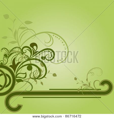 Green floral background with copy space.