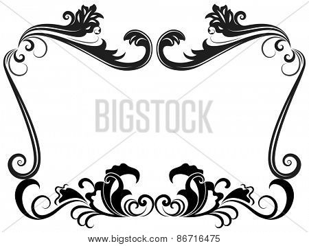 Black and white vintage floral frame template.