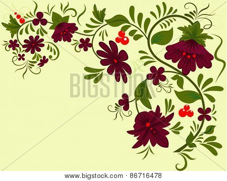 Abstract flower ornament with copy space.
