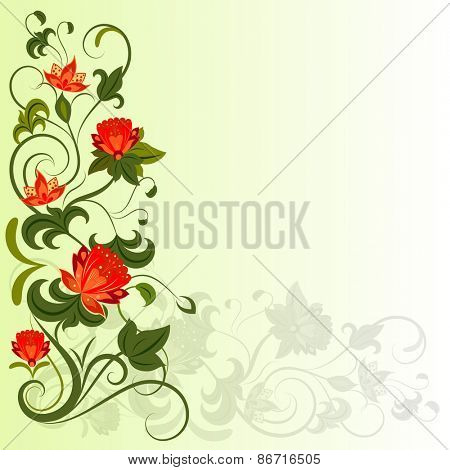 Floral corner design element with copy space.