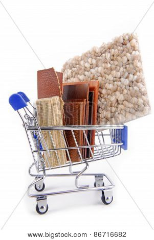 shopping trolley with various materials