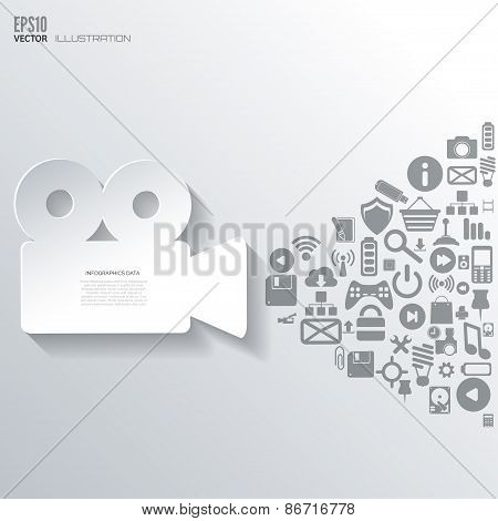 Videocamera icon. Flat abstract background with web icons. Interface symbols. Cloud computing. Mobil