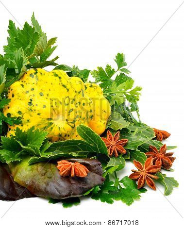Yellow Squash Pattypan With Different Lettuce, Water-cress, Spinach, Parsley Isolated On White