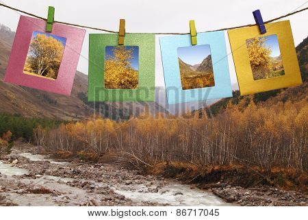 Beautiful Pictures Of Autumn In The Framework With Clothespins