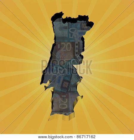 Portugal map on euros sunburst illustration