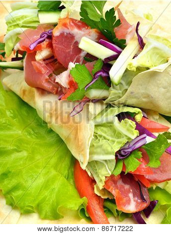 Tasty  Shawarma With Fresh Vegetables And Meat, Lavash, Pita, Appetizer On Green Salad