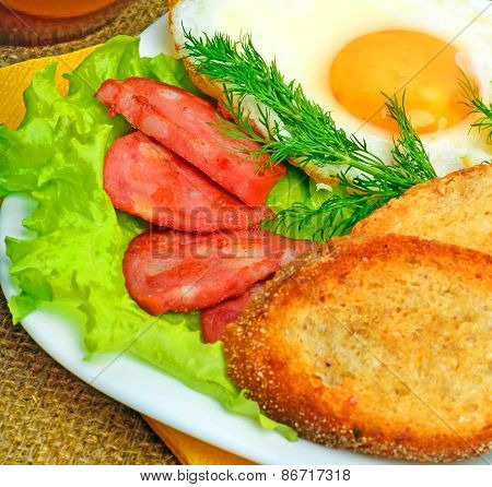 English Breakfast, Scrambled Eggs With Toasts, Bacon, Ham And Vegetamles
