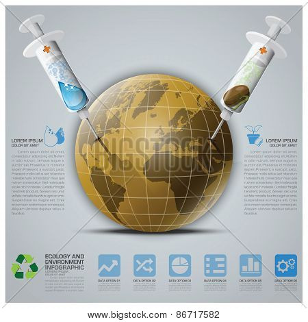 Ecology And Environment Infographic With Syringe To Save The Earth