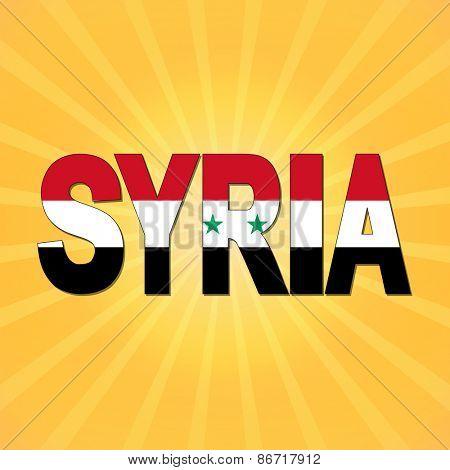 Syria flag text with sunburst illustration