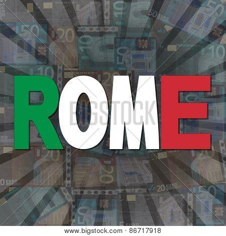 Rome flag text on Euros sunburst illustration