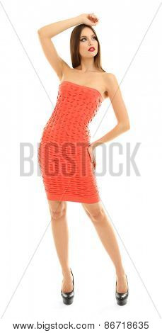 Beautiful model in dress isolated on white