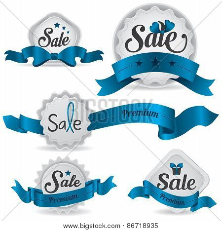 Blue Ribbon Glossy Sale Badges With Various Shape And Design, Create By Vector