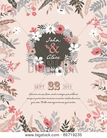 Save the date. Wedding invitation card with beautiful flourish elements.