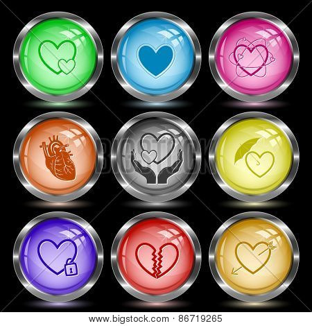 Heart shape set. Internet button. Raster illustration.