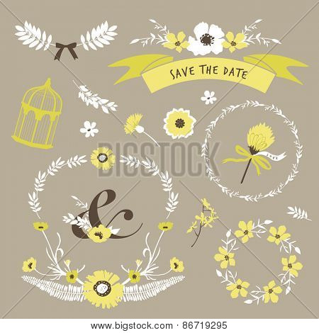 Set of flourish elements for wedding invitation, save the date, RSVP, mother's day and Valentine's day greeting card design.