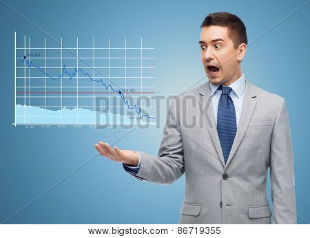 business, people, emotions and failure concept - shocked businessman in suit looking to chart over blue background