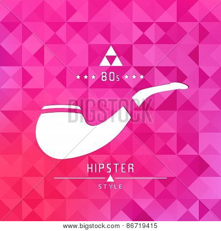 tobacco pipe icon, hipster style, flat design