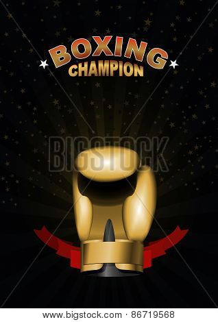 boxing gloves. Template for Championship Awards. boxing gold cup. Vector sport background with cup.