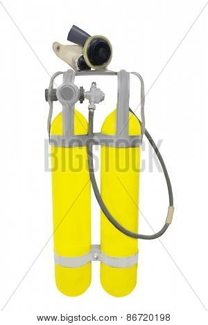 Gas mask and cylinders isolated on a white background.