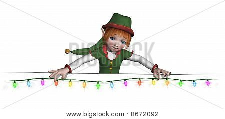 Santa's Elf Is Hanging Christmas Lights