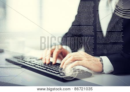 business, education and technology concept - man hands typing on keyboard
