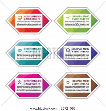 Business infographic concept colored blocks in flat style design. Steps or numbered blocks.