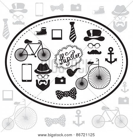 Hipster and retro style icon set