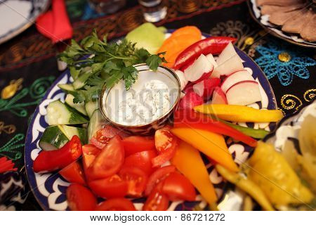 Plate With Various Sliced Vegetables