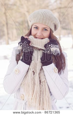 Beautiful Happy Young Woman Wintertime