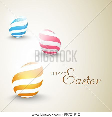Happy Easter celebration greeting card with colorful creative glossy eggs.