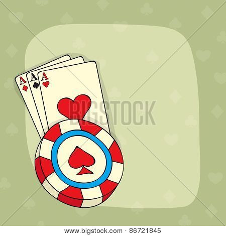 Vintage ace playing card and 3D Casino chip with blank space for your message.