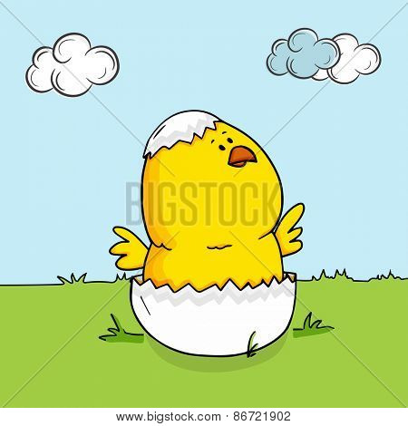 Cute chick coming out from crack egg on nature background for Happy Easter celebration.