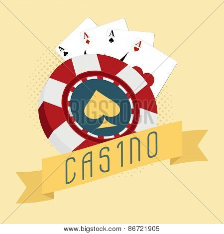 Casino concept with 3D chip and ace playing cards on vintage background.
