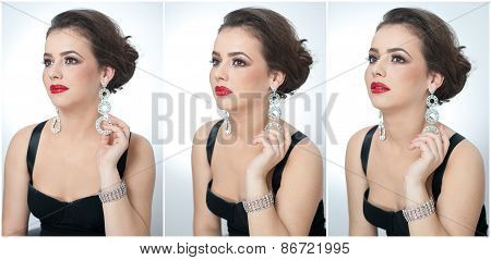 Hairstyle and make up - beautiful female art portrait with earrings. Elegance