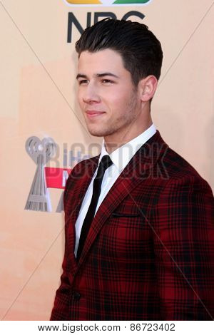 LOS ANGELES - MAR 29:  Nick Jonas at the 2015 iHeartRadio Music Awards  at the Shrine Auditorium on March 29, 2015 in Los Angeles, CA