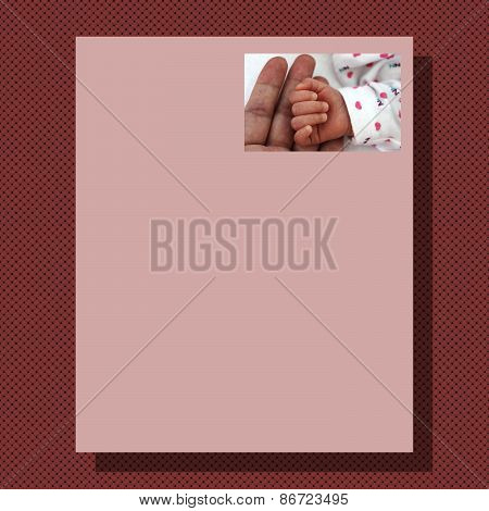 Writing paper with marsala knitted background and pink paper with picture for mother