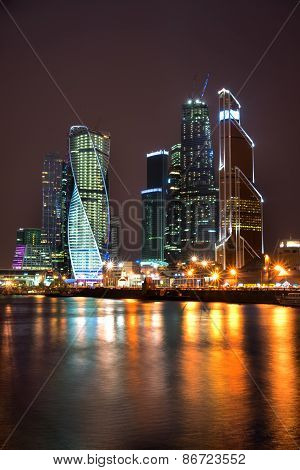 Beautiful Night View Skyscrapers International Business Center From The Moskow River