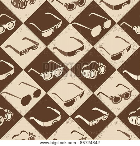 Glasses, sunglasses and 3D-glasses seamless pattern